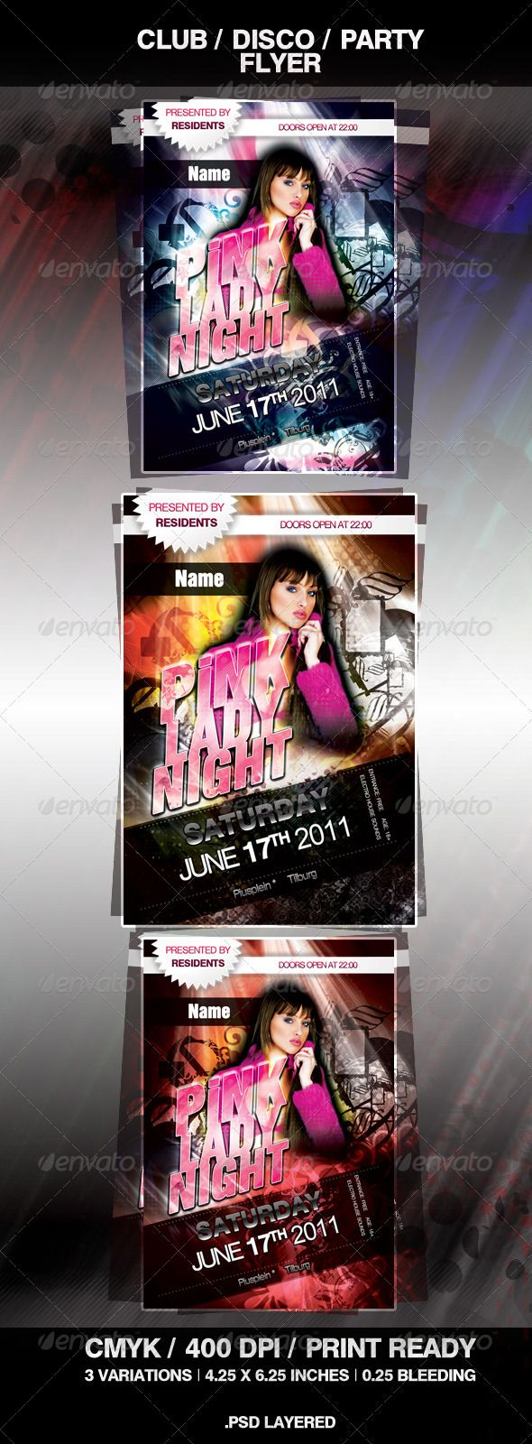 Disco Club Party Flyer  #GraphicRiver         Fresh and unique flyer that could be used as promotional material for a party, club, or event. The package includes a fully layered, renamed, grouped PSD file.  	 –  3 .psd files –  Print Ready –  Postcard Format (4,0 × 6,0 inch + bleed (4,25×6,25 inch)) –  400 dpi –   CMYK –  EasyPhoto Replacement –  3 Variations –  Well Organized Layers –  Easy to Customize  	 Girl (not included!): shutterstock_2213033.  	 Fonts used: HelbaBlackDB, HelbaDB, HelbaInseratDB, HelbaMedDB (fonts101 ).  	 Easy to modify, simply change colors, dimensions (at resizing, quality image is the same).  	 Also it is simple to place a model at the location of the girl (premaded holder). Also it is easy to change the title!  	 Resolution: 400dpi CMYK color Include bleeds, trims and guidelines.  	 Good luck.     Created: 13June11 GraphicsFilesIncluded: PhotoshopPSD Layered: Yes MinimumAdobeCSVersion: CS3 PrintDimensions: 4.0×6.0 Tags: alternative #blocks #blue #classy #club #cold #dance #disco #electro #event #flower #funcky #hot #house #lady #night #orange #pink #rays #red #stylish #tropical