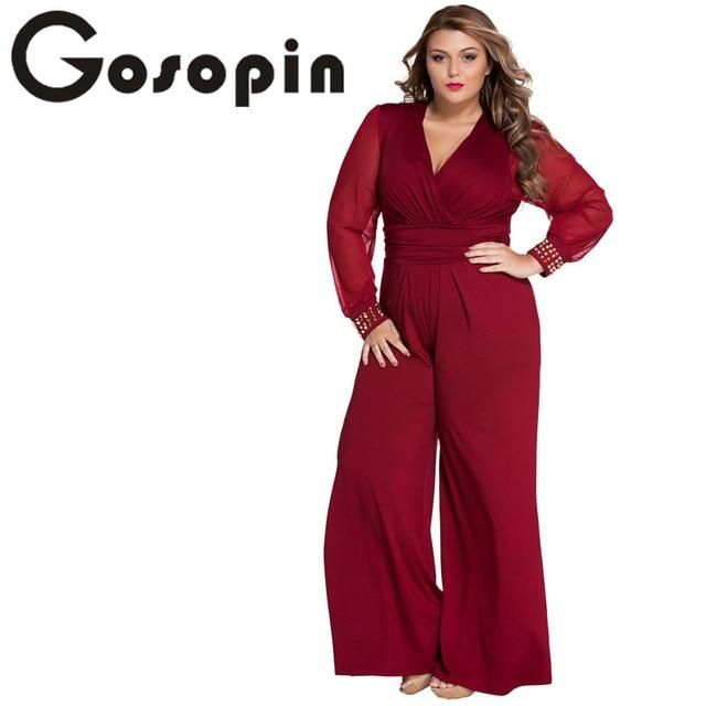 7a348dcf25a8 Gosopin Hot Selling Woman Wide Leg Elegant jumpsuits Black Embellished  Cuffs Long Mesh Sleeves Jumpsuit LC6650