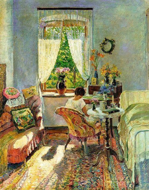 "Sergei Arsenevich Vinogradov (1869-1938)  - ""Summer at the datcha"", 1896 - Huile sur toile -"