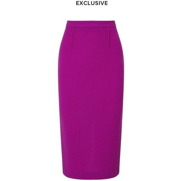 Roland Mouret Arreton Skirt ($795) ❤ liked on Polyvore featuring skirts, midi, purple, midi skirt, slimming skirts, zipper pencil skirt, below the knee pencil skirts and mid-calf skirts