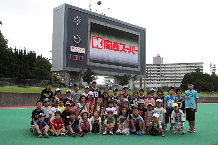 関西スーパースタジアムツアー記念撮影。  PHOTO BY MAKOTO SATO