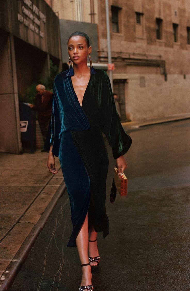 Aya Jones models velvet dress in Mango Before Midnight 2017 campaign