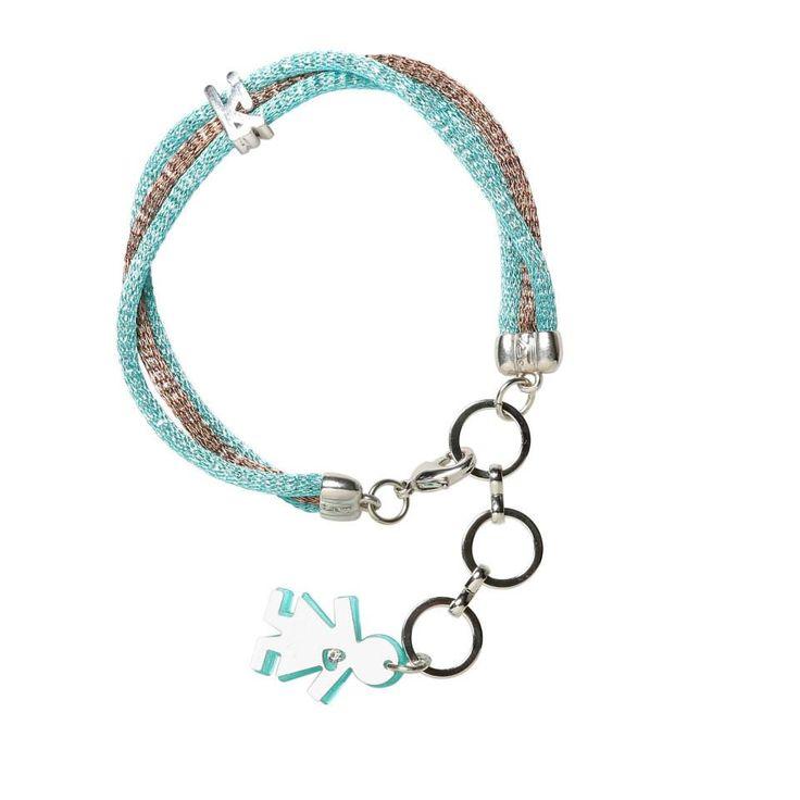 Linea #rainbow by #birikini: bracciale tre fili colore turchese e argento