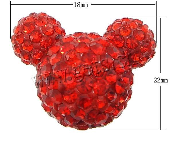 Rhinestone Глина вымощает шарики, Микки Маус, полуполые, Hyacinthine, 18x22x14mm, отверстие: Приблизительно 1 мм, проданное ПК