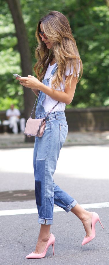 Patched denim overall + pink pumps with a matching pink crossbody.