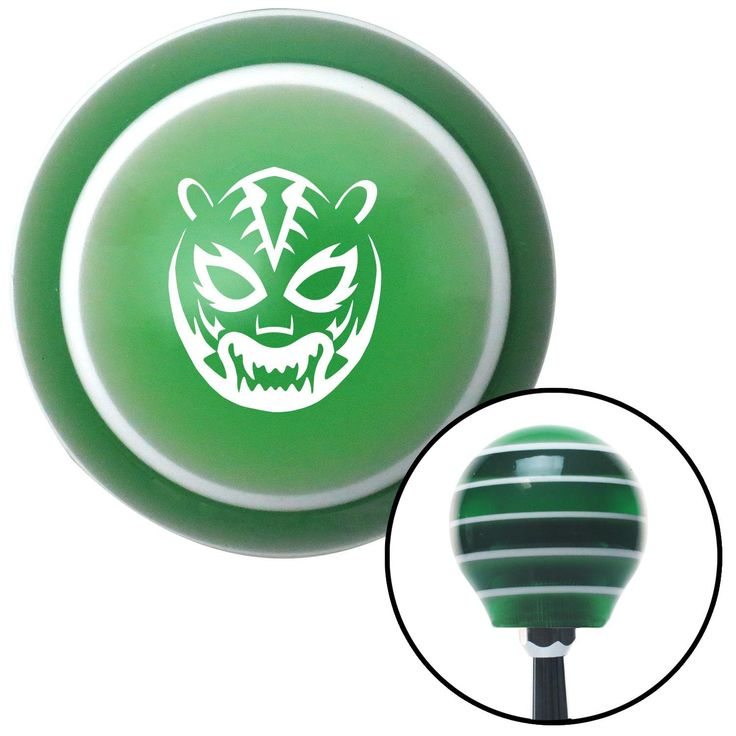 White Lucha Libre Mask Green Stripe Shift Knob with M16 x 15 Insert - Give your interior the ultimate look. American Shifter's Elite(TM) series shift knobs are made from the highest quality components resulting in a superior feel on every shift. Each shift knob is designed and customized in the USA by skilled shift knob artisans who have a trained eye on every detail. American Shifters shift knobs offers an exclusive aluminum threaded insert designed to be screwed onto your shift arm. You…