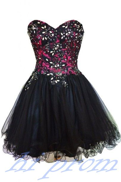 Black Homecoming Dress,Tulle Homecoming Dress