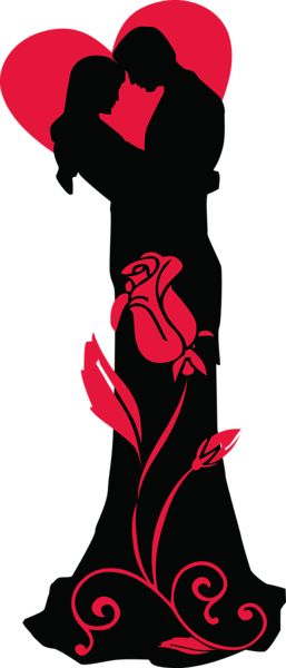 Transparent Loving Couple Silhouettes with Red Heart and Rose PNG Clipart