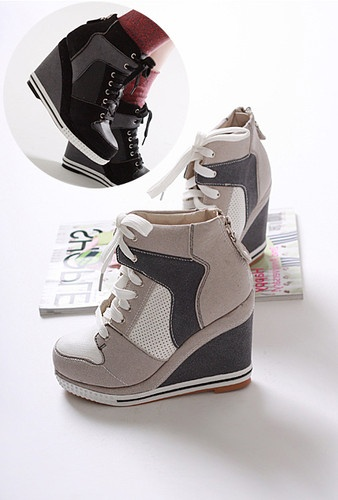 womens High heels suede platform shoes lace up wedge zip up shoes size 5 6 7 8