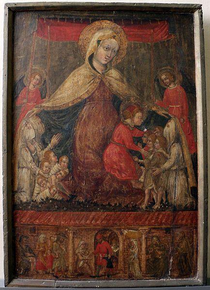 Jacopo Bedi (ambito di Ottaviano Nelli) -  Madonna della misericordia e scene di assistenza agli esposti e ai pellegrini - 1450 circa - Museo Civico, Gubbio