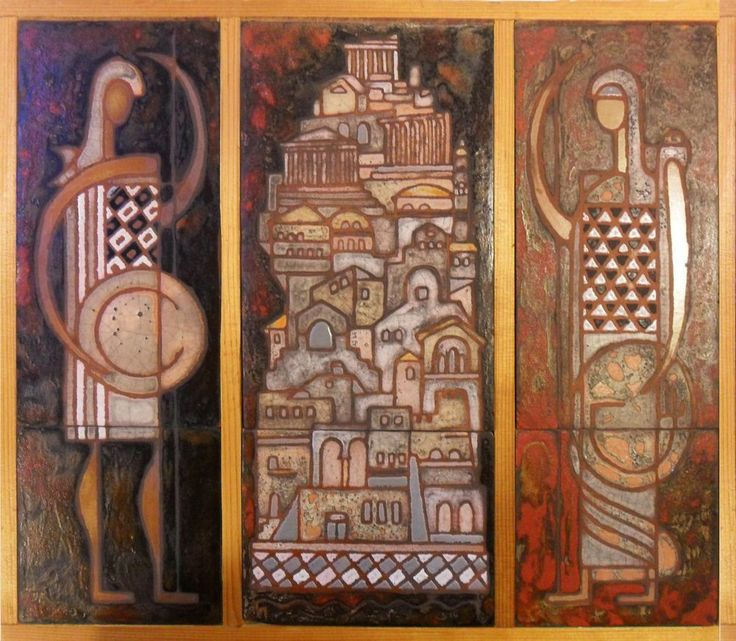 CERAMIC TILE ART TRIPTYCH by PANOS VALSAMAKIS, GREECE, MID-CENT MOD, EAMES ERA #MidCenturyModern