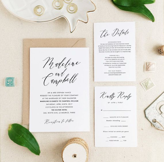 Wedding Invitation Template, Printable Wedding Invitation, Floral Wedding,  Romantic Calligraphy, Edit In Word Or Pages