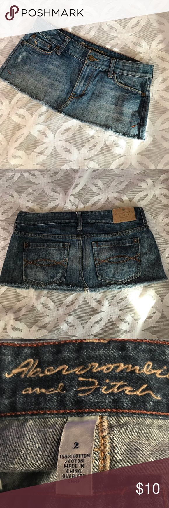 """Abercrombie and Fitch Denim Mini Skirt Size 2 Abercrombie and Fitch Denim Mini Skirt Size 2 - Good Condition, See Pictures!   Measurements Laying Flat Size 🔹 2 Waist 🔹 15"""" Length 🔹8.5 Bundle to Save 🤓 Sorry NO outside transactions 🚫 Reasonable Offers welcomed 👍 NO Low balling 👎 NO modeling 👎 All items from a pet 😼and Smoke Free Home  Happy Poshing 🤗 Abercrombie & Fitch Skirts Mini"""