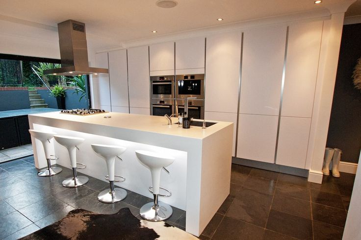 Contemporary white kitchen - Contemporary white kitchen island design - Discover more at www.lwk-home.com
