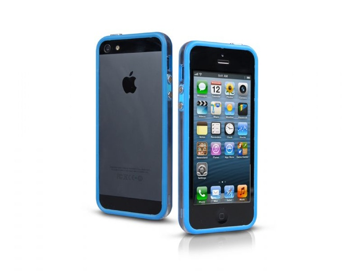 Bumper case in transparent PVC for iPhone 5, blue color.   http://www.sbsmobile.com/iphone/protections_specific-cases/1881_bumpy-case-for-iphone-5_TEBUMPTRIP5B.html