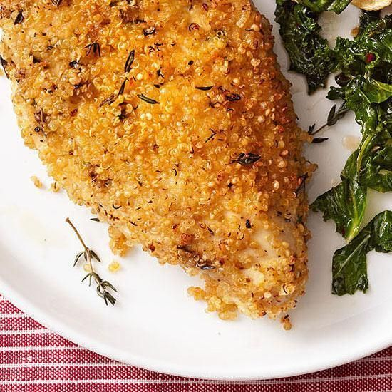 Quinoa-Crusted Chicken   Bump up your normal breading with fiber and protein-rich cooked quinoa. The tiny seeds will crisp as they bake creating a crunchy crust. #glutenfree