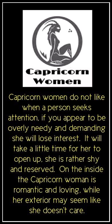 Capricorn Women-!sorry I think this kind of stuff is rather stupid but I came across this & I must say it sort of fits me!