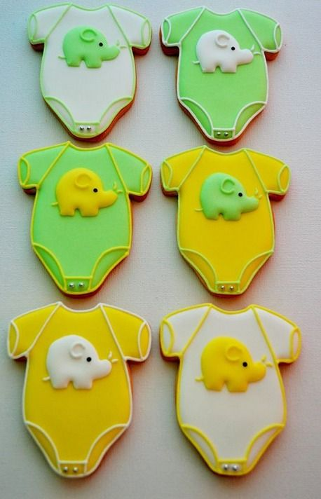 Elephant baby shower cookies by Belleissimo Cookies