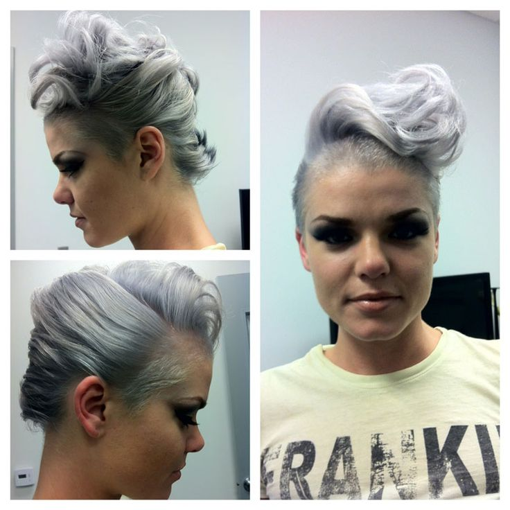 Gray/violet hair with a pomp-inspired twist.