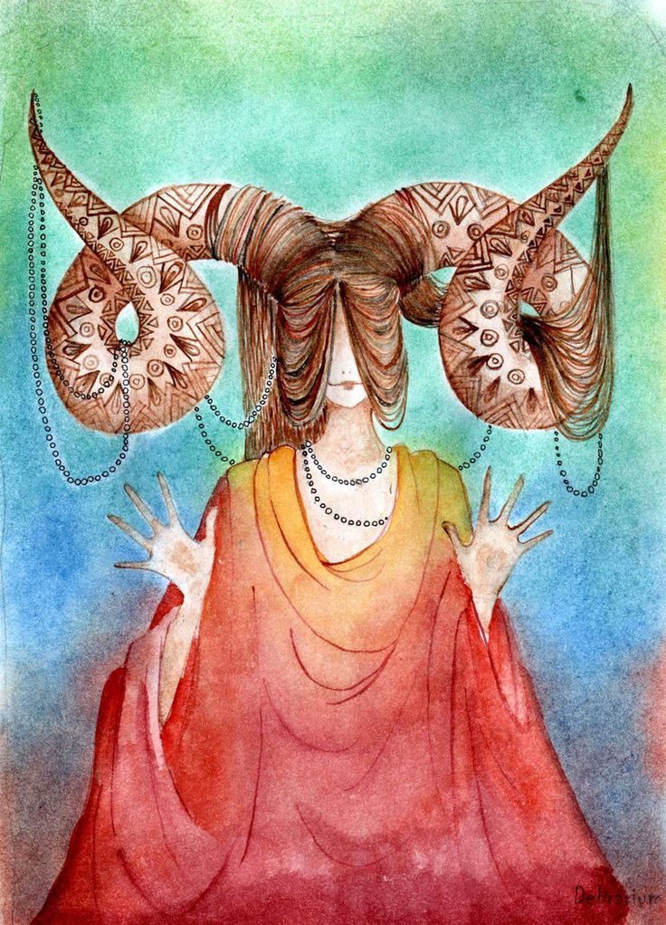 watercolor, pastel, black ink, paper 15*21 Aries is first sign in Zodiac circle. They are like children. So her pose and her hands are open.