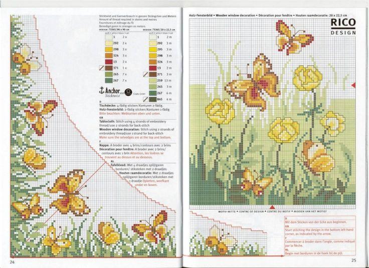 Cross-stitch Butterflies & Flowers Corner Border...    Gallery.ru / Фото #14 - 11 - gipcio