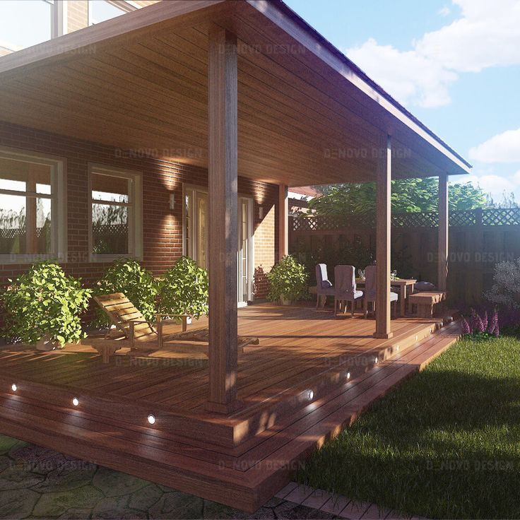 Ipe wood porch with cedar shingles roof.