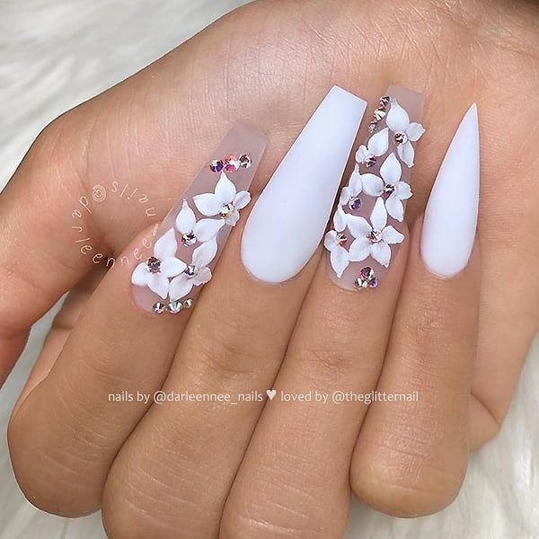 Matte White With Crystals And White 3d Lilies On Long Coffin