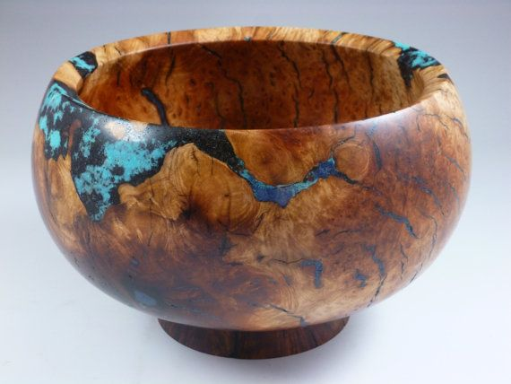 Wooden Bowl - Manzanita burl wood Bowl with Turquoise ...