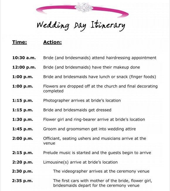 10 Event Itinerary Templates Notes Designs Wedding Itinerary