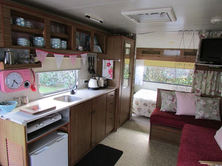 Interior of Vintage Retro Caravan, Cosy Corner Holiday Park, Mt Maunganui, New Zealand