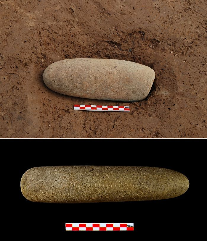 Stoneware with graduated markings, newly found at the Suyanggae Site, raises questions among archaeologists about humanity's prehistory. (ph...