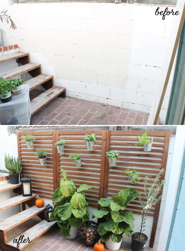 Quick and easy patio garden for $150 using Ikea Applaro wall panels.  Great DIY for apartment / rental living :-)
