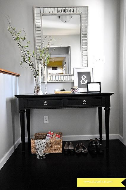 Find this Pin and more on Dreamy Home Decor Ideas  Big mirror over entryway  table. Top 25  best Entryway table decorations ideas on Pinterest   Entry
