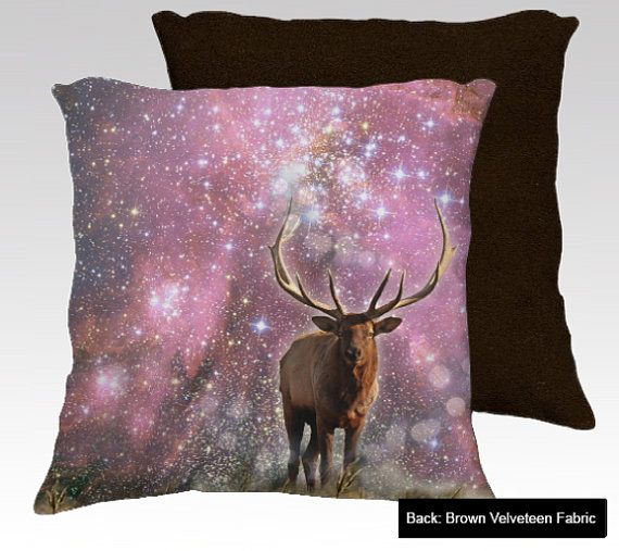 """Elk Art Pillow Case, Cuddly, Soft Velveteen. Fade-Resistant and Printed with Solvent-Free Inks. Handmade in Canada. 18"""" x 18"""" or 22"""" x 22"""""""