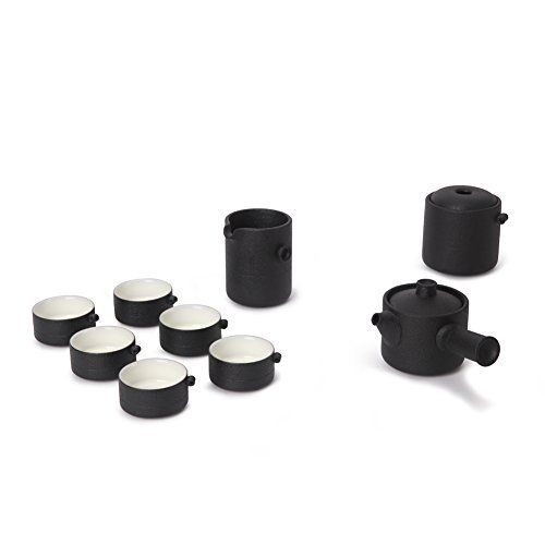 Edenus 9-piece Chinese Classic Ceramic Kung Fu Tea Set, Service for 6, Black ** Check this awesome product by going to the link at the image.