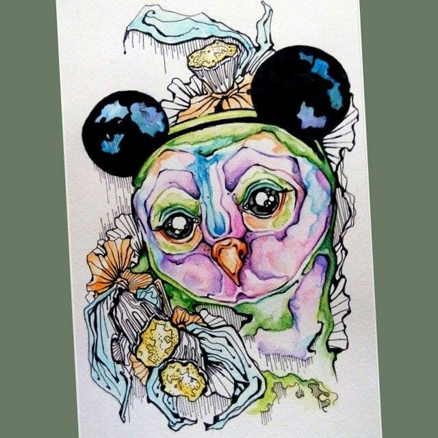 Сова, уши, акварель, цветы