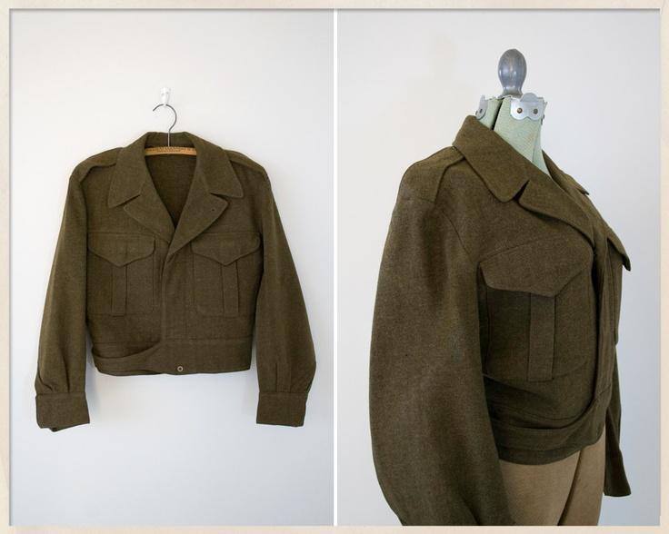 vintage 50s Eisenhower jacket // 1951 military jacket // wool uniform // Ike jacket. $38.00, via Etsy.