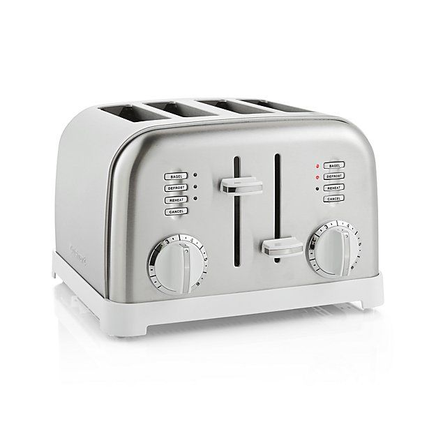 Cuisinart ® Classic 4-Slice White/Stainless Steel Toaster | Crate and Barrel