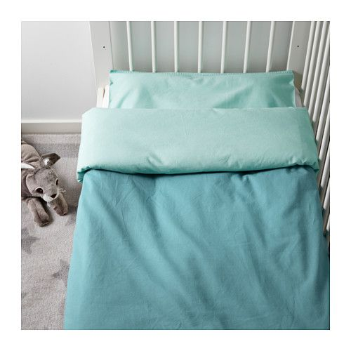 TILLGIVEN Crib duvet cover/pillowcase, turquoise turquoise 43x49/14x22