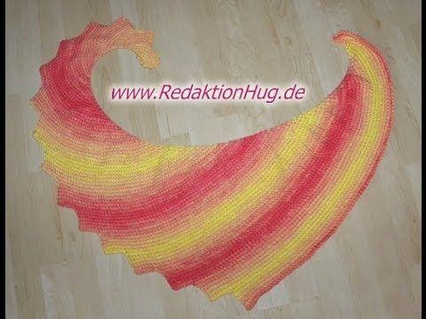 Stricken - Drachenschal PADUA Patentmuster - Woolly Hugs BANDY 06 - Veronika Hug - YouTube