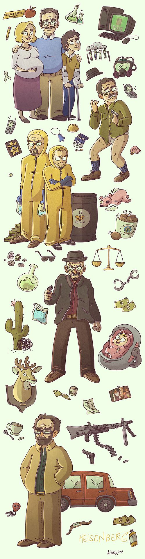 Breaking Bad - The changing personality of Walter White depicted in this awesome artwork by Alyssa Smith #GangsterFlick