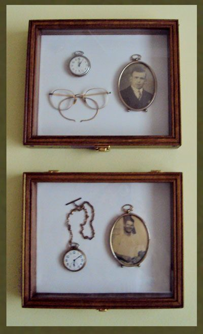 shadow box for pocket watches and family heirlooms