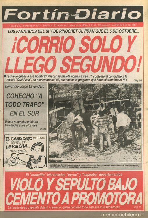 5 de Octubre 1988 Corrió solo y llegó segundo SI = 44,01% NO = 55,99%