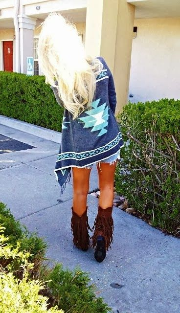 Stunning aztec cardigan with fringe boots or combat boots