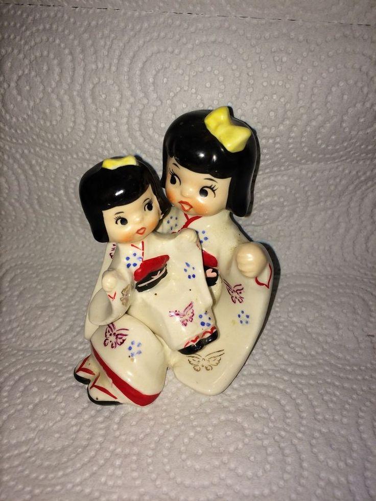 Rare Vintage Napco Japanese Nesting Mother & Baby Salt Pepper Shakers