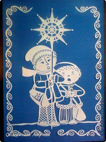 Картина панно рисунок Рождество Вырезание подготовка к рождеству Бумага