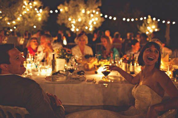 Italian wedding full of Sunshine, outdoor fairy lights