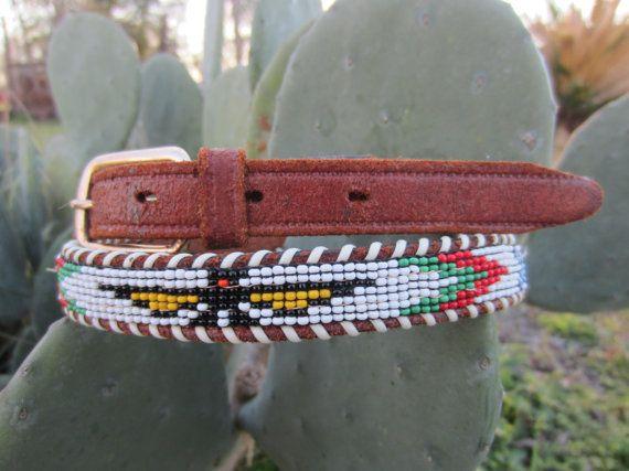 50s Handmade Indian Beaded Southwestern Leather Belt, 68-79 cm / 26-31 in // Vintage Cowgirl Belt