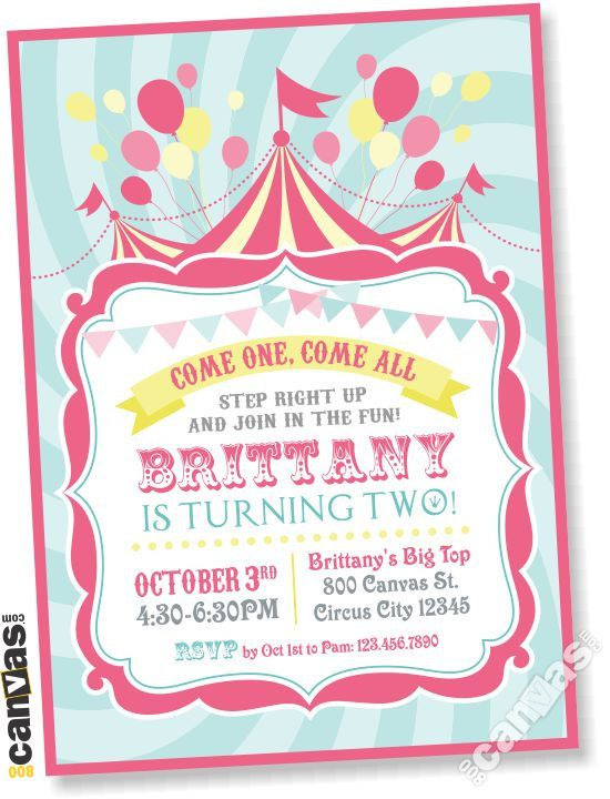 Circus Birthday Invitation Girls Carnival Party Invite Pink Teal