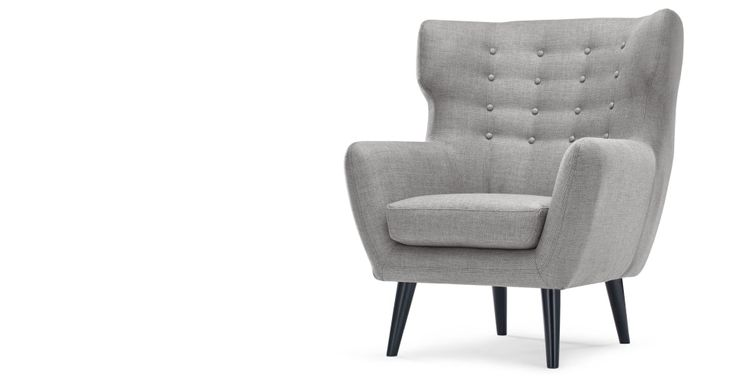 Kubrick Wing Back Chair in pearl grey | made.com